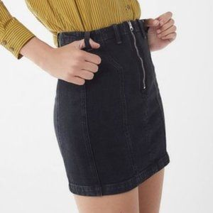 AGOLDE Black Denim Zip Up Miniskirt 26 NWT